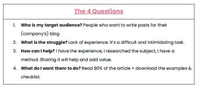 The questions should lead you through the whole writing process