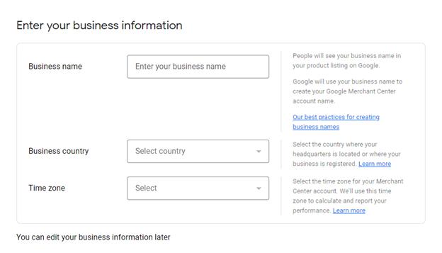 Create Google Merchant Center Account